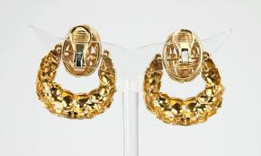 1970s earrings vintage door knocker 18k yellow gold earrings circa 1970s