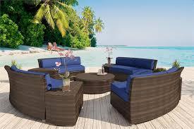 Outdoor Furniture Houston by Hannah Round Bronze Wicker Viro Fiber Sectional Sofa Set Patio