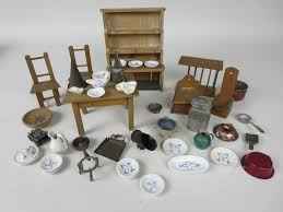 Dolls House Kitchen Furniture A Dolls House Kitchen Dresser Table Salt Box Strainer Two