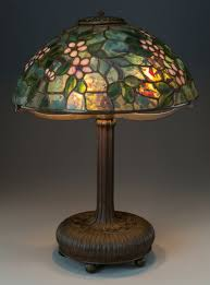 tiffany studios leaded glass and bronze apple blossom table lamp