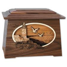 funeral urn lighthouse cremation urn with 3d inlay wood urns online