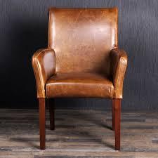 Esszimmer Stuhl Leder Edler Armlehnstuhl Home Cognac Spalt Lederstuhl Esszimmerstuhl