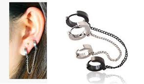 hoop earring on cartilage hoop earrings chain silver black gold earring cartilage