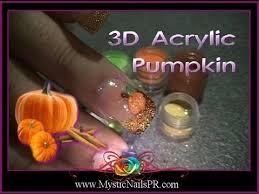 3d acrylic pumpkin nails thanksgiving
