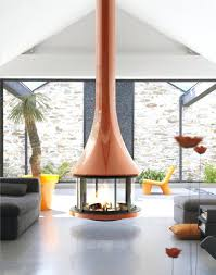 round suspended fireplace with glossy burnt orange finish suspended fireplace for australia