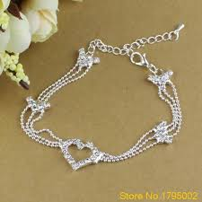 silver plated bead necklace images Charm anklets silver plated bead anklets for women love ankle jpeg