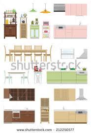 Floor Plan Furniture Clipart Set Furniture Flat Icons Vector Illustration Stock Vector