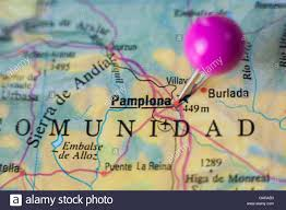 Pamplona Spain Map by Pushpin Marking On Pamplona Spain Selective Focus On City Stock