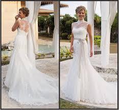 elegant 2015 wedding dresses with sash high neck applique lace