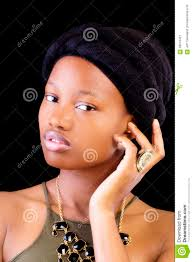 attractive young african american woman portrait head scarf stock
