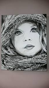 tableau portrait noir et blanc tableau contemporain enfant sur toile upside art petite fille