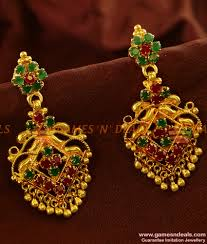 danglers earrings design gold plated ear rings semi precious ad danglers party wear