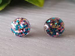 glitter stud earrings blue pink glitter stud earrings 12mm hypo allergenic surgical steel