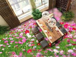 pink white wild flower grass garden 00043 floor decals 3d