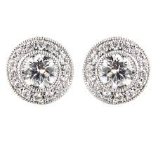 gold stud earrings uk 18ct white gold 1 01ct deco style diamond stud earrings