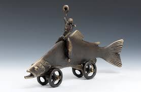 trout cowboy by scott nelles metal sculpture artful home