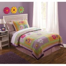 girls quilt bedding pink purple green floral girls bedding twin quilt set cotton