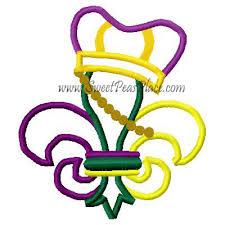 mardi gras embroidery designs mardi gras fleur with crown applique embroidery design sweet peas