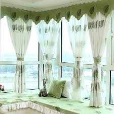 Bay Window Valance Exquisite Embroidered Leaf Pattern Linen Cotton Bay Window Kids
