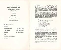 Funeral Ceremony Program John Coltrane U0027s Funeral Service July 21 1967 Kcrw Music Blog