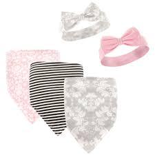 s headband hudson baby baby girl s 5 pack bandana bib and headband set grey