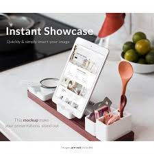 tablette cuisine tablette avec des éléments de cuisine mock up télécharger psd