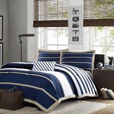 Contemporary Blue Bedroom - blue bedroom decor gray duvet and modern accent pillows yellow