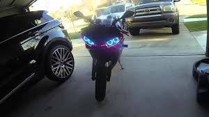 yamaha r6 halo lights 03 r6 color changing angel halo eyes w remote audi led lights youtube