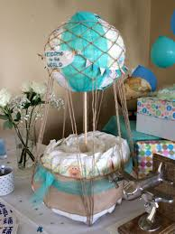 Lil Man Baby Shower Theme Air Balloon Diaper Cake Baby Shower Decorations Baby Boy