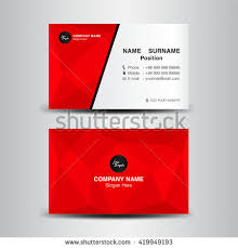 Red Business Cards Red Business Card Vector Backgroundflyer Designpolygon Stock