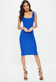 blue dress blue square neck open back midi dress missguided