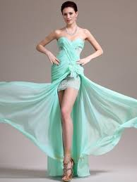 mint green strapless chiffon split front prom dress with applique