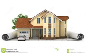 House With Floor Plans A Stylized House Model With Floor Plan Ruler And Pencil Stock