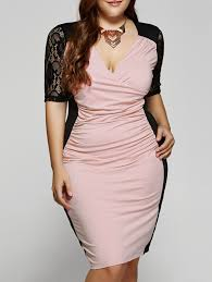 plus size chic v neck 1 2 sleeves splice lace dress lace dress