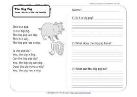 the big pig 1st grade reading comprehension worksheet week 6