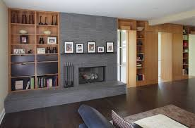 built in shelves around fireplace family room contemporary with