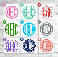 monogram stickers vinyl monogram monogram decal monogram sticker vinyl decal