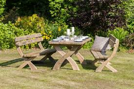 Rustic Wooden Garden Furniture Garden Furniture Zest Harriet Table U0026 2 Bench Set