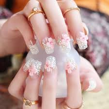 cute wedding bride false artificial fake nails tips french pearl