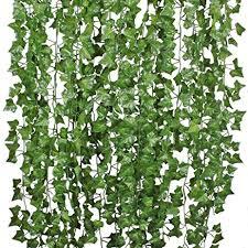 Wedding Wall Decor Amazon Com 84 Ft 12 Pack Artificial Ivy Leaf Garland Plants Vine