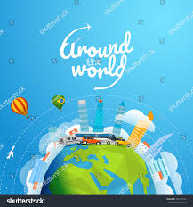around world tour by different vehicle stock vector 604130753