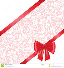 wedding ribbon lace fabric background with ribbon bow stock vector illustration