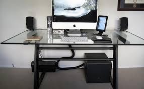Glass Topped Computer Desk Techni Mobili Glass Top Computer Desk In Clear Brubaker Desk Ideas