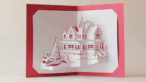 world dual layers house pop up card