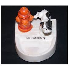 ceramic dog ring holder images Vintage ashtray or ring holder dog and fire hydrant no parking japan jpg