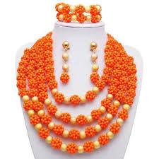 orange beads necklace images 2018 2016 fashion beads necklace set nigerian wedding african jpg
