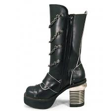 black biker style boots gothic womens under knee boots with chains and square 3 1 2 inch heel