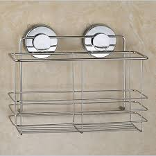Bathroom Suction Shelves Stainless Steel Non Rust Bathroom Shower Shelf Storage Suction