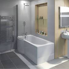 orchard p shaped left handed shower bath 1675mm with 6mm shower