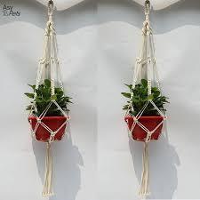 asypets 2pcs macrame plant hanger indoor outdoor hand knit hanging